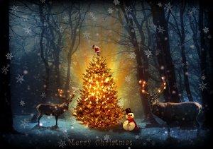Kitschige Weihnachtskarte aus England