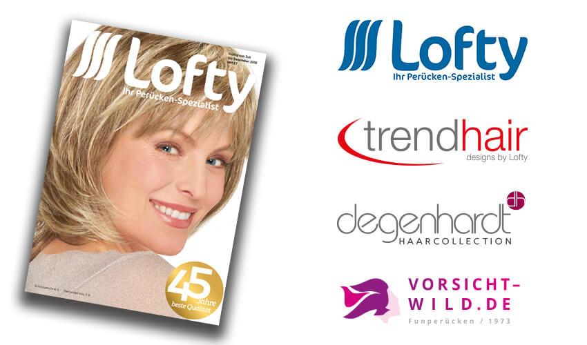 Der neue Lofty-Katalog mit den vier Perückenmarken Lofty, trendhair, Degenhardt Haarcollection und Vorsicht-Wild